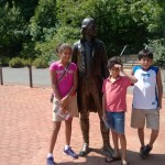 The kids with Thomas Jefferson